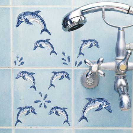Crearreda stenska dekorativna nalepka, delfini mozaik