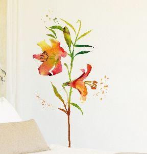 Crearreda stenska dekorativna nalepka, flat lilija vodene barve XL