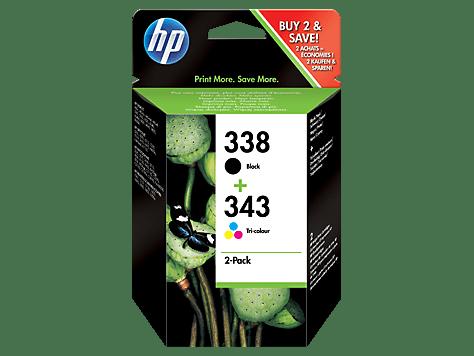 HP č.338 + 343 černá a tříbarevná originální inkoustová kazeta (SD449EE)