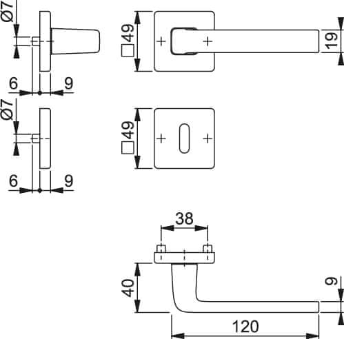 Hoppe aluminijasta kljuka za notranja vrata Dublin F94-1 za sobni ključ