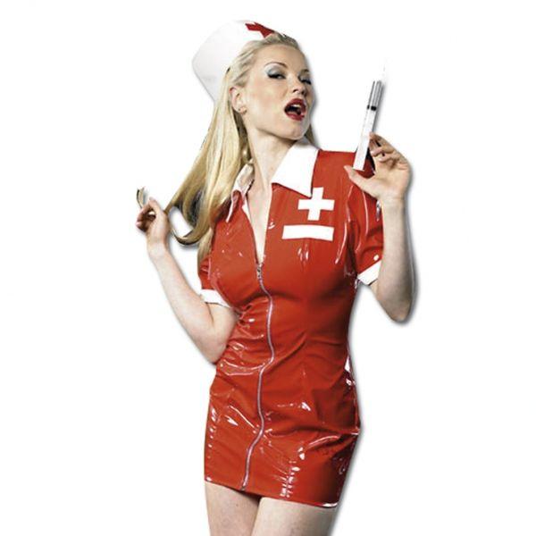 Dámský lakový kostým zdravotní sestra - Lack krankenschwester set (L)