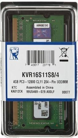 Kingston pomnilnik (RAM) za prenosni računalnik SODIMM 4GB PC3-12800 (KVR16S11S8/4)