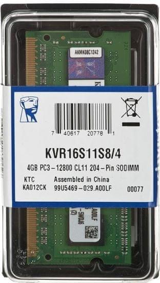 Kingston ValueRAM RAM pomnilnik, 4GB, DDR3 (KVR16S11S8/4)