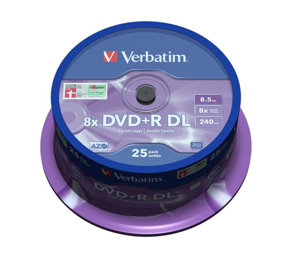 Verbatim DVD+R DL 8.5GB 8x Spindle 25-pack (43757)