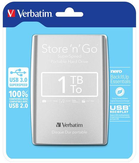 Verbatim zewnętrzny dysk twardy Store 'n' Go 1TB, USB 3.0, Srebrny
