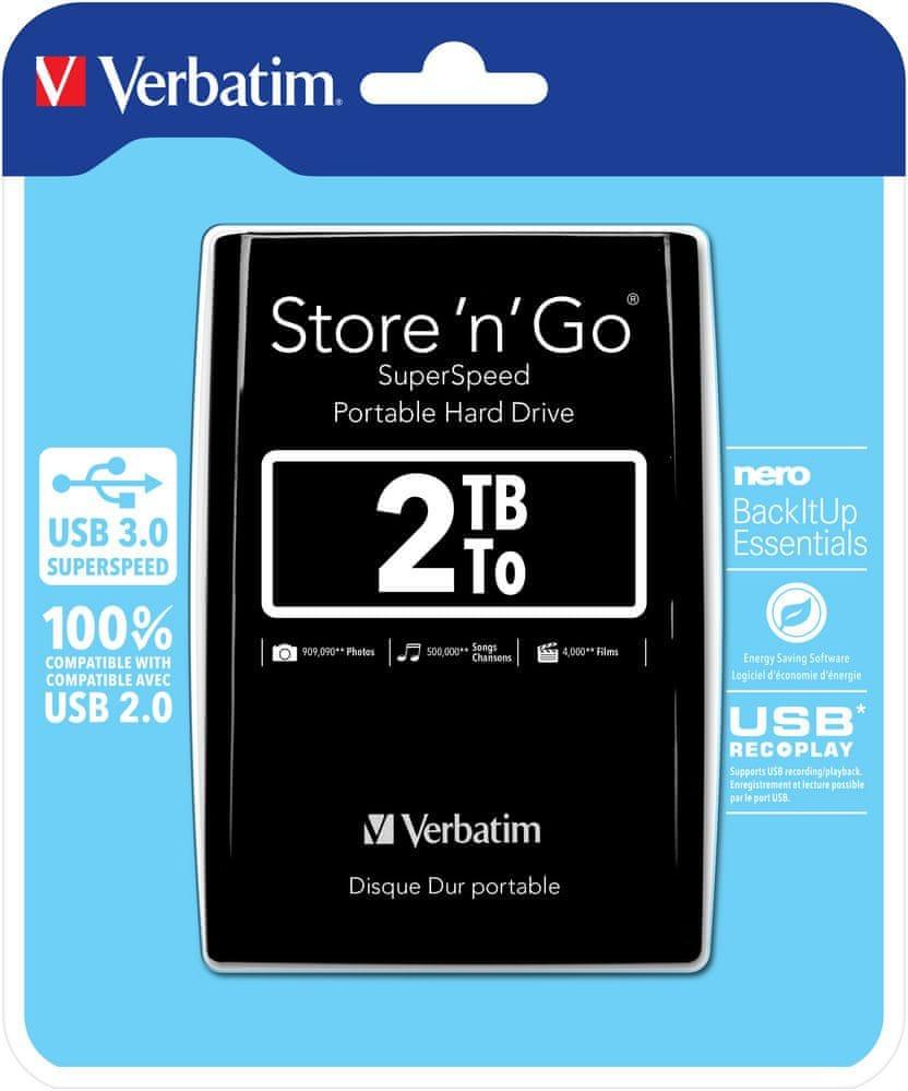 "Verbatim Store 'n' Go 2TB / Externí / USB 3.0 / 2,5"" / Black (53177)"
