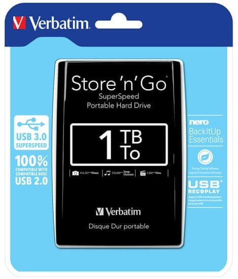 Verbatim Store 'n' Go prenosni trdi disk, 1TB, USB 3.0, črn