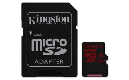 Kingston pomnilniška kartica microSDXC 64 GB C10 UHS-I U3 z SD adapterjem (SDCA3/64GB)