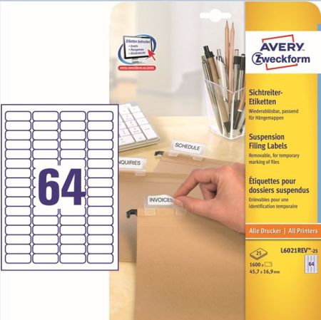 Avery Zweckform etikete L6021REV-25, 45,7x16,9 mm, bele