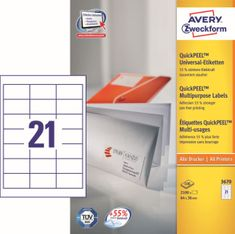 Avery Zweckform etikete 3670, 64x36 mm, bijele