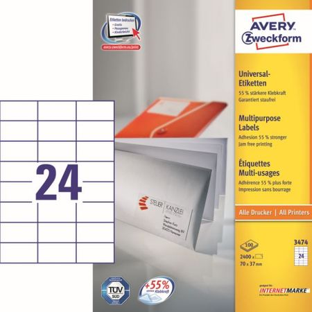 Avery Zweckform etikete 3474, 70x37 mm
