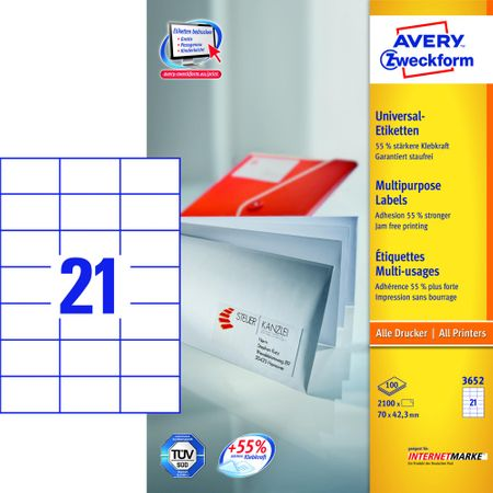 Avery Zweckform etikete 3652, 70x42,3 mm, bele