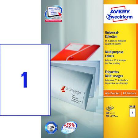Avery Zweckform etikete 3418, 200x297 mm