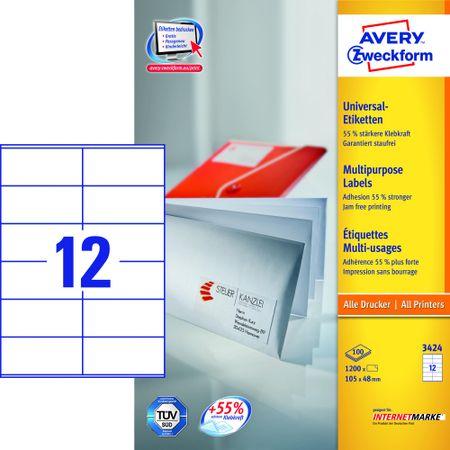 Avery Zweckform etikete 3424, 105x48 mm, bele