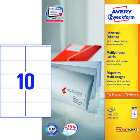 Avery Zweckform etikete 3425, 105x 57 mm, bele