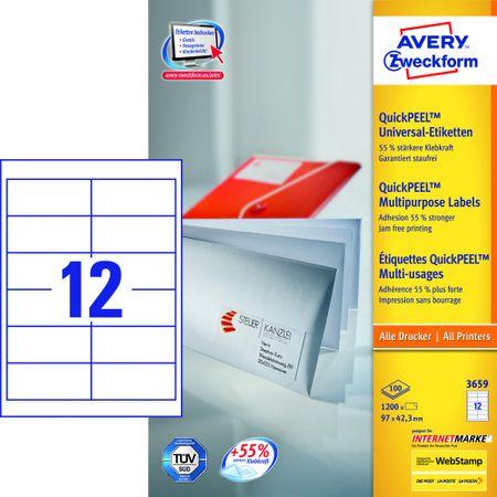 Avery Zweckform etikete 3659, 97x42.3 mm