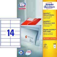 Avery Zweckform etikete 3678, 97x37 mm, bele