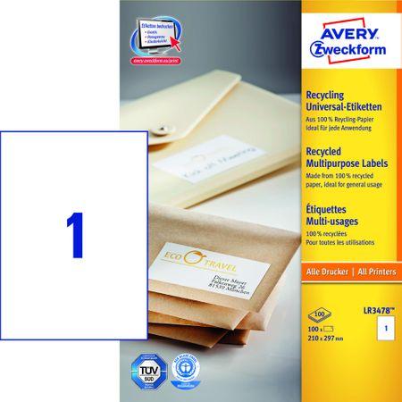 Avery Zweckform etikete LR3478-100, 210x297 mm