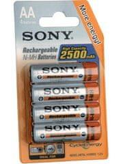 Sony polnilne baterije AA, 4 kos, 2500 mAh
