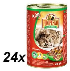 Propesko mokra karma dla kotów - kawałki królika, kurczaka z marchewką w galarecie 24 x 415 g