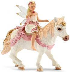 Schleich Křehká elfí víla jedoucí na poníkovi 70501
