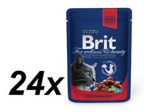 Brit Premium Cat Pouches with Beef Stew & Peas 24 x 100g