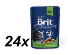 Brit Premium Cat Pouches Chicken Slices for Sterilised 24 x 100g