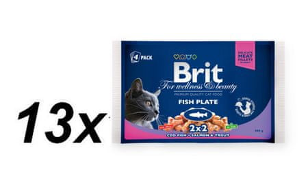 Brit vrečke Premium Cat Fish Plate, losos in postrv, 13x (4x100g)
