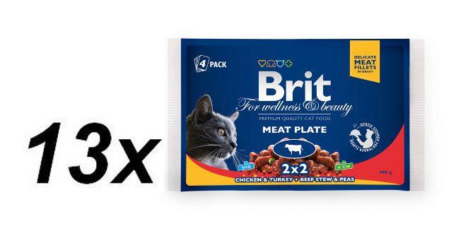 Brit Premium Cat Pouches Meat Plate 13x (4x100g)