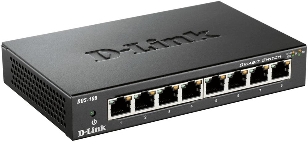 D-Link DGS-108/E kovový 8-port 10/100/1000 Switch