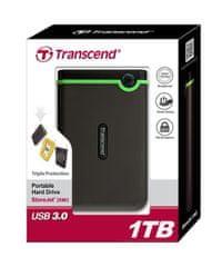 """Transcend 2,5"""" vanjski tvrdi disk TS1TSJ25M3, 1 TB, USB3.0, SATA II"""