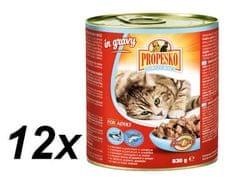 Propesko hrana za odrasle mačke, losos in postrv, 12 x 830 g