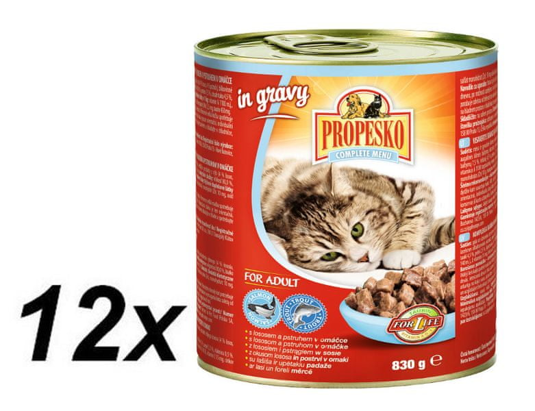 Propesko kousky kočka s lososem a pstruhem v omáčce 12 x 830g