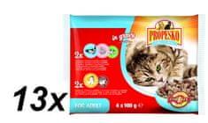 Propesko hrana za odrasle mačke, piletina, losos, kozice, govedina i povrće, 13 x (4 x 100g)