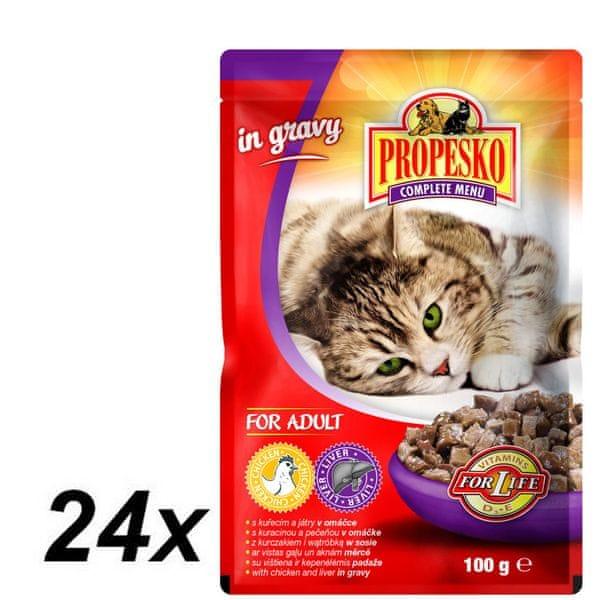 Propesko kapsa kočka kuře+játra 24 x 100g