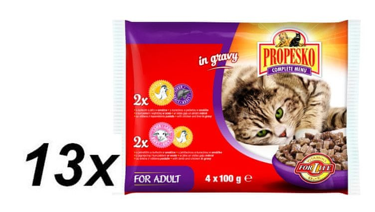 Propesko kapsa kočka kuřecí s játry, jehněčí s kuřetem 13 x ( 4 x 100g)
