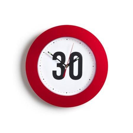 BR stenska ura z rdečo obrobo, 30 cm