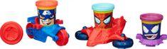 Play-Doh lončki za plastelin - junaki Marvel, z vozili