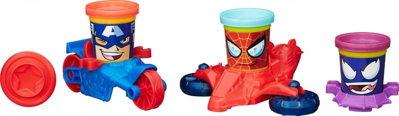 Play-Doh Kelímky ve tvaru hrdinů Marvel s vozidly