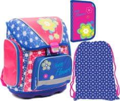 Karton P+P Školní SET batoh PREMIUM+penál+sáček KVĚTINY
