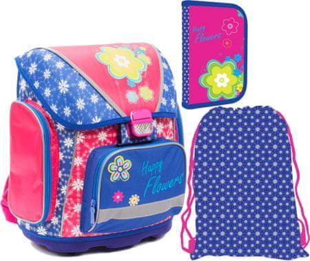 Karton P+P Zestaw szkolny plecak PREMIUM + piórnik + worek, w kwiaty