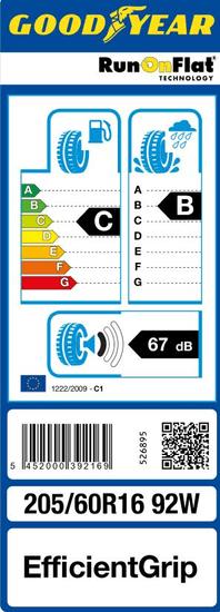Goodyear guma EfficientGrip 205/60R16 92W ROF FP