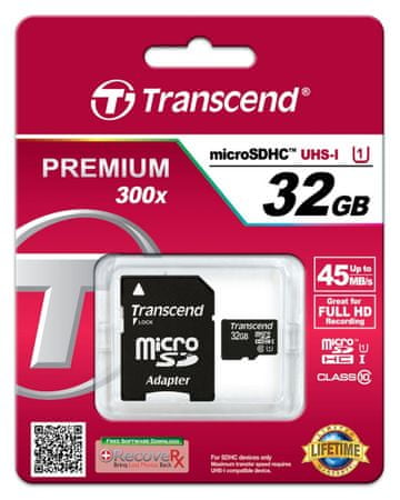 Transcend micro SDHC pomnilniška kartica 32GB UHS-I + adapter (TS32GUSDU1)