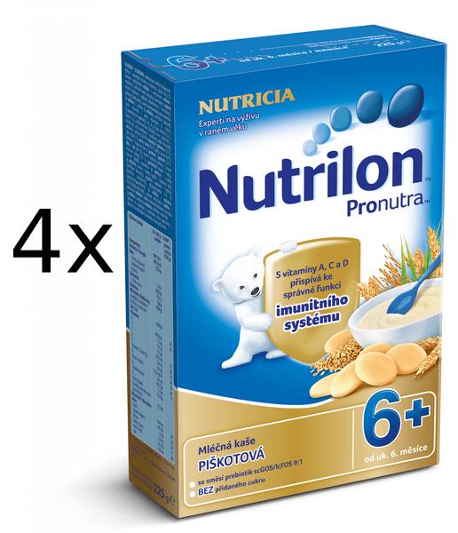 Nutrilon Mléčná kaše piškotová - 4 x 225g