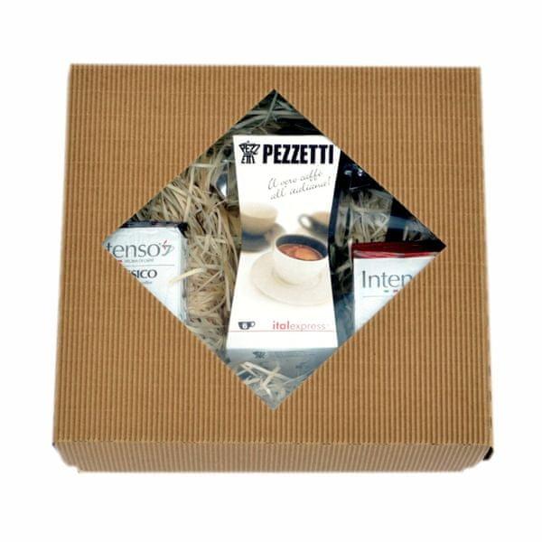 Pezzetti Dárkový set - konvička ItalExpress + Intenso Classico 250g + Intenso Forte 250g
