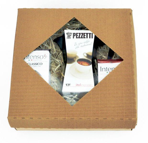 Pezzetti Dárkový set - konvička ItalExpress černá + Intenso Classico 250g + Intenso Forte 250g