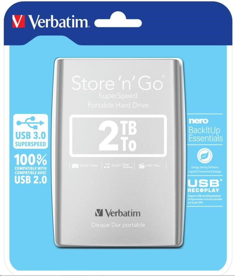 "Verbatim Store 'n' Go 2TB / Externí / USB 3.0 / 2,5"" / Silver (53189)"
