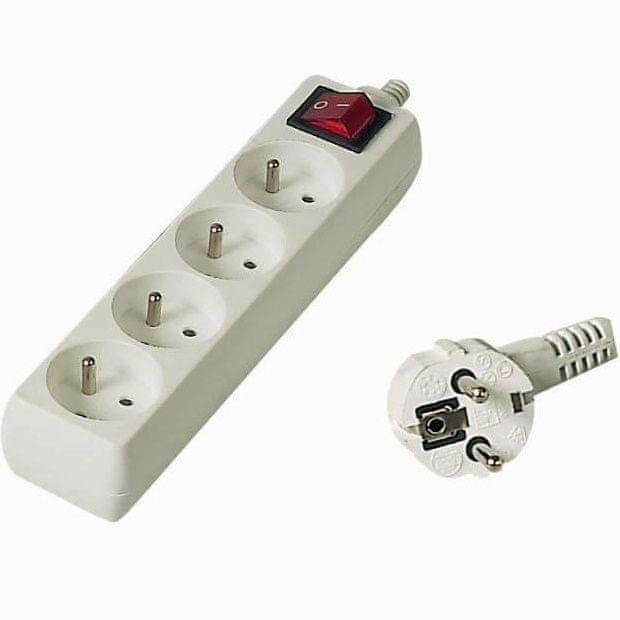 PremiumCord Prodlužovací přívod 230 V, 3 m, 4 zásuvky + vypínač pp4k-03