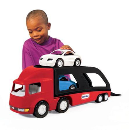 Little Tikes Ťahač s návesom na prepravu áut - červený