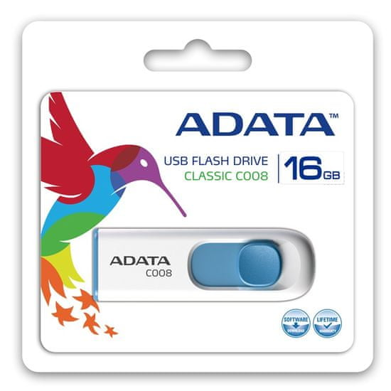 A-Data C008 16GB, USB 2.0, biały